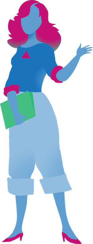 character holding book and pointing