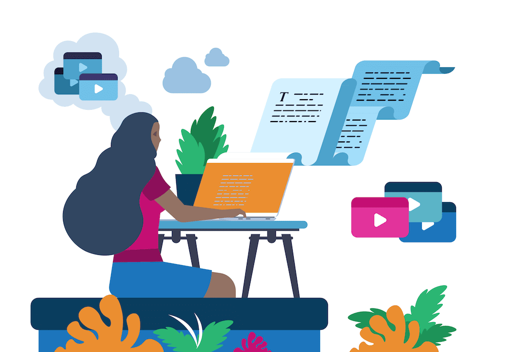 woman at computer reading and working