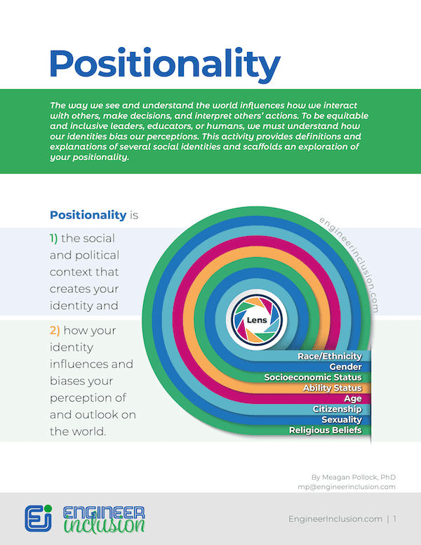 What is Positionality? Craft your own positionality statement Worksheet