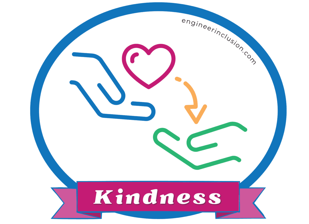 kindness: line drawing of one hand passing a heart to another